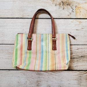 Fossil Pastel Striped & Brown Leather Handbag